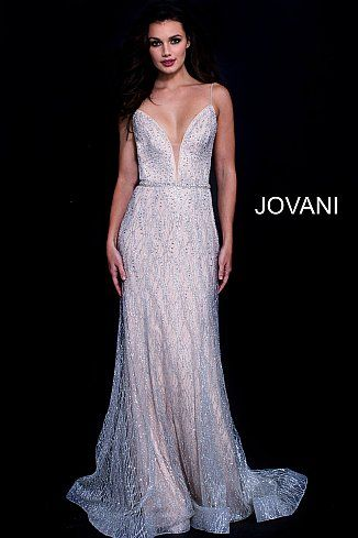 1661a9fccb Silver Nude Embellished Plunging V Neck Prom Dress 56050