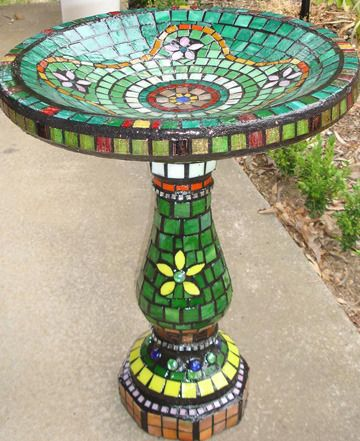 Mosaic Birdbaths - Mosaic Tiles, Mosaics  Mosaic Supplies Online, How to Mosaic Art Craft                                                                                                                                                      More