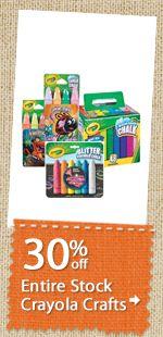 30% off Entire Stock Crayola Crafts