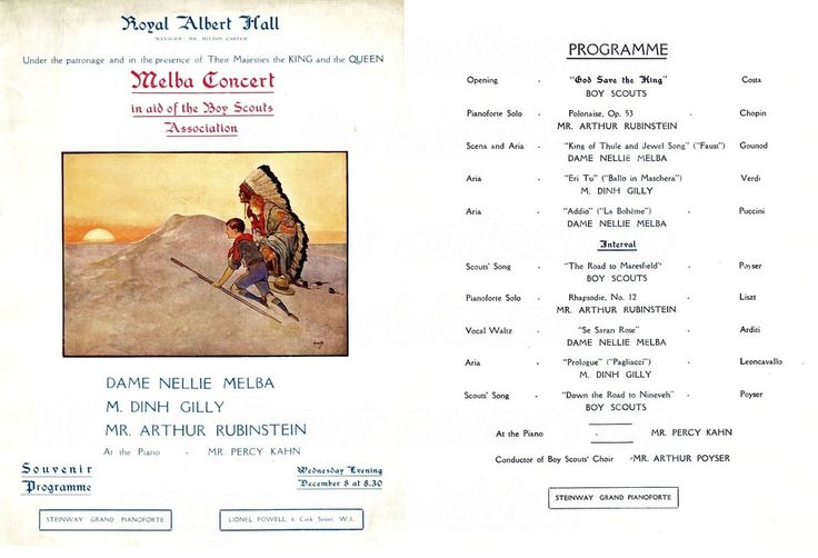 Melba concert in aid of the Boy Scouts Association at the Royal Albert Hall on 8th Oct 1920.  Nellie Melba [Helen Porter Mitchell] born 19th May 1861 died 23rd February 1931 becoming Dame Nellie Melba in 1918.   The great Australian soprano had her first starring role at the Théâtre de La Monnaie, Brussels on 12th October 1887 as Gilda in Verdi's Rigoletto and appeared the same year at Covent Garden with little success. However she sang Lucia in Lucia di Lammermoor there in 1st June 1888 to…