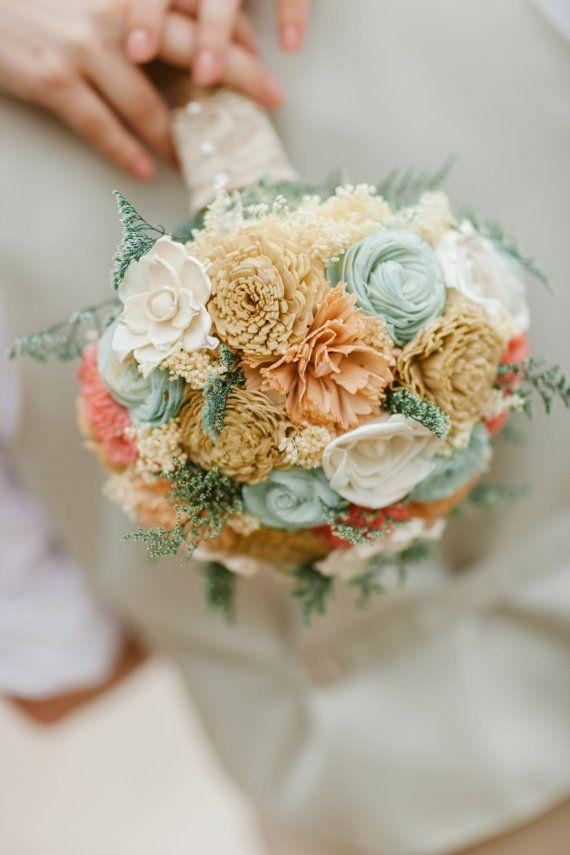 Handmade Wedding Bouquet- Mint Coral Peach Champagne Bridal Bouquet, Alternative Bouquet, Sola Flowers, Keepsake Bouquet, Rustic Wedding