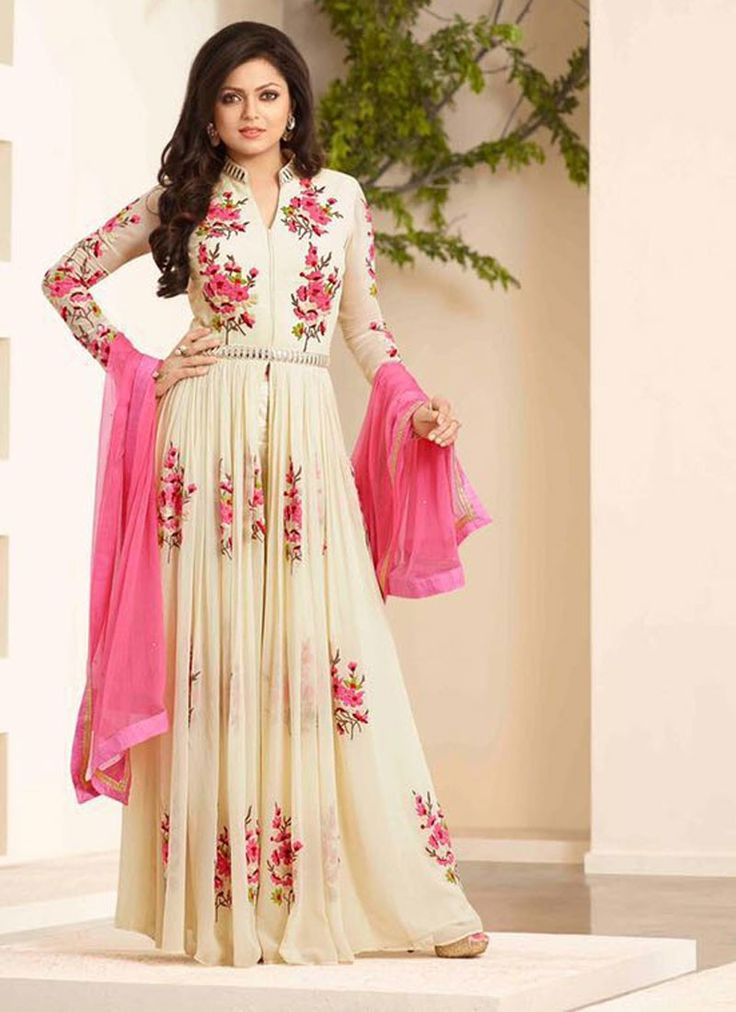 Blissful Cream Georgette Ankle Length Gown Style Suit with Trouser