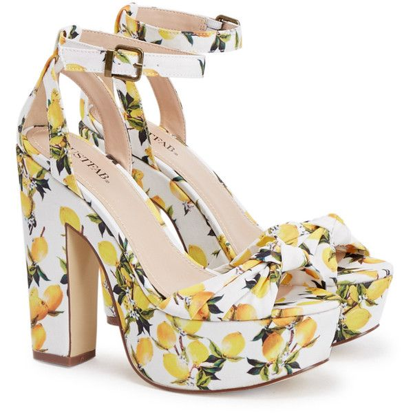 ShoeDazzle Sandals-Dressy - Platform Lawren Womens Yellow ❤ liked on Polyvore featuring shoes, sandals, thick platform sandals, fancy footwear, dressy sandals, fancy shoes and high heel platform shoes