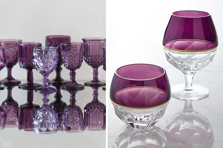   Cristalerías de color para una mesa bien decorada
