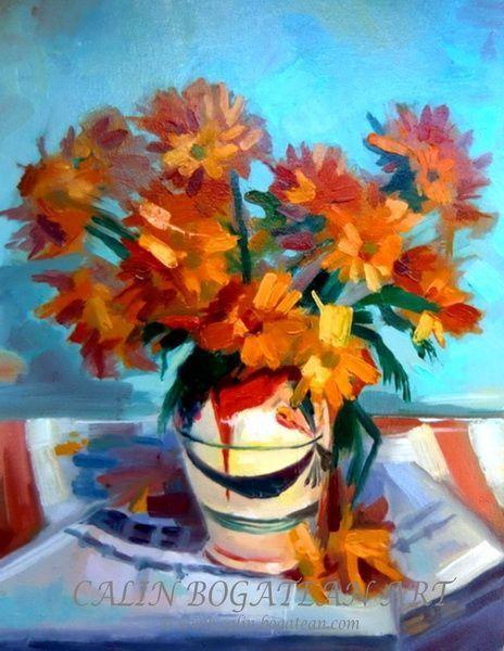 Flori de toamnă în vas de lut pictură în ulei pe pânză natură statică tablou realist pictură hiperrealistă lucrare originală de artă pictată de pictorul profesionist Călin Bogătean membru al Uniunii Artiștilor Plastici Profesioniști din România.  Picturi cu flori tablouri florale flori pictate pe panza natură moartă pe pânză natură statică picturi flori