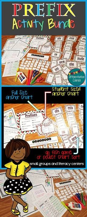 5 Prefix Worksheets with cut and paste-fill in the blank-matching prefix activities, *Go Fish game for common prefixes. Four cards for each prefix, making 32 game cards, These prefix cards are also great for pocket charts*Prefix Word Sort- for pocket charts, in partners, or individually, *Prefix Anchor Chart to use as a visual reminder for reinforcement *Student sized prefix anchor chart to glue into interactive notebooks, color and black and white version for easy printing