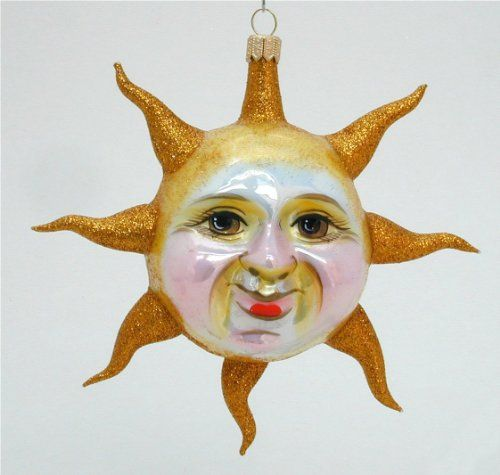 Shaped Sun Blown Glass Christmas Ornament >>> For more information, visit image link.