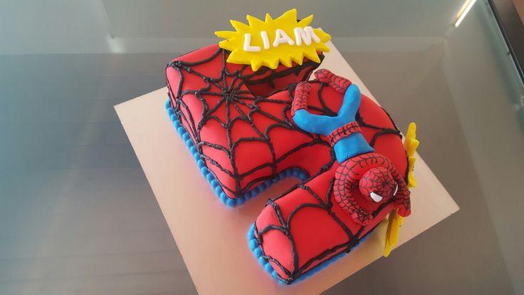 Spiderman 5th birthday cake #2