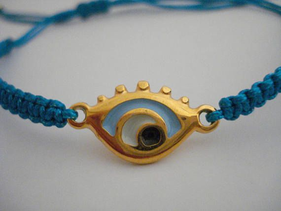Small gold evil eye bracelet Eye with lashes charm Party