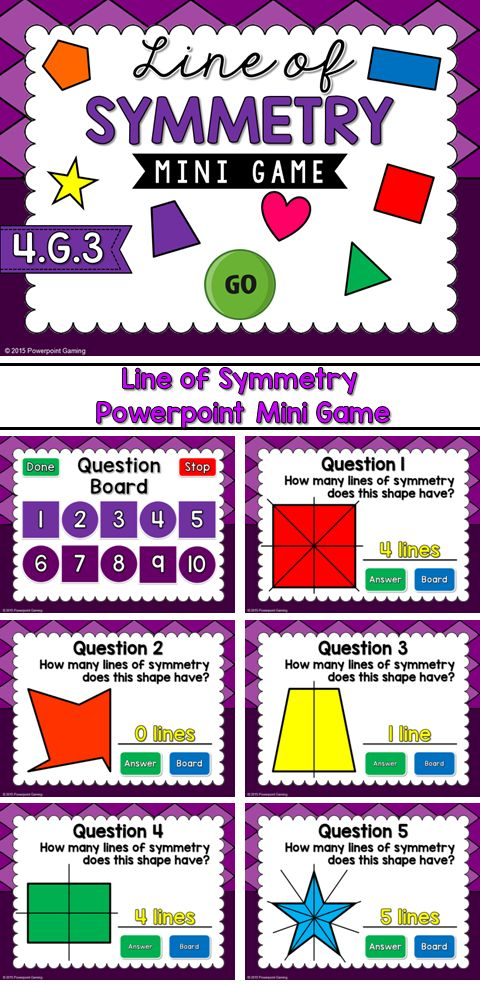 Check for student understanding with this fun, interactive powerpoint game. Students are given a 2d shape and they must figure out how many lines of symmetry it contains. Includes triangles, squares, rectangles, and many more! There are 10 questions and you just click on each question to go to it.