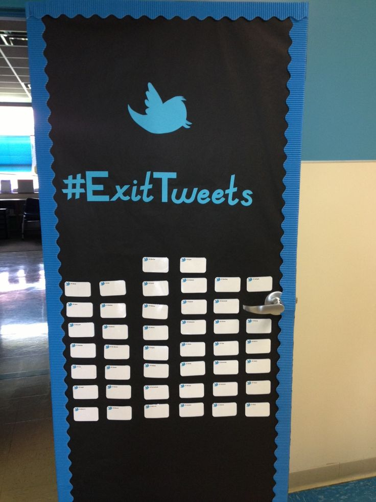 Exit Tweets - exit tickets for answers to questions, velcroed to the door as they leave