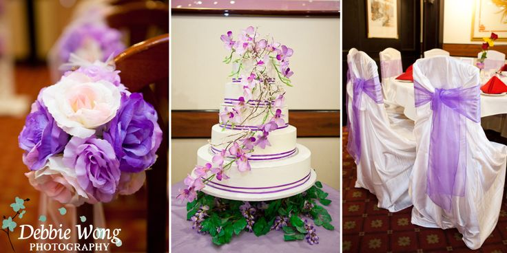 Purple and white colors as the theme. Debbie Wong Photography, Calgary wedding photography, www.debbiewongphotography.com
