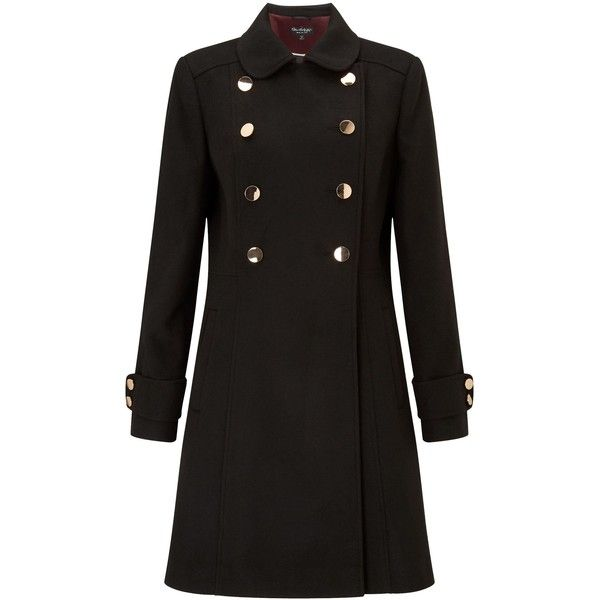 Miss Selfridge Double Button Wool Coat Black ($55) ❤ liked on Polyvore featuring outerwear, coats, sale women coats & jackets, wool coat, miss selfridge, miss selfridge coats, woolen coat and button coat