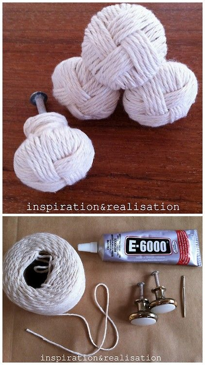 DIY Nautical Knot Knobs Tutorial from inspiration & realisation here.Have you seen how expensive furniture knobs are? Really like this for beach inspired rooms.