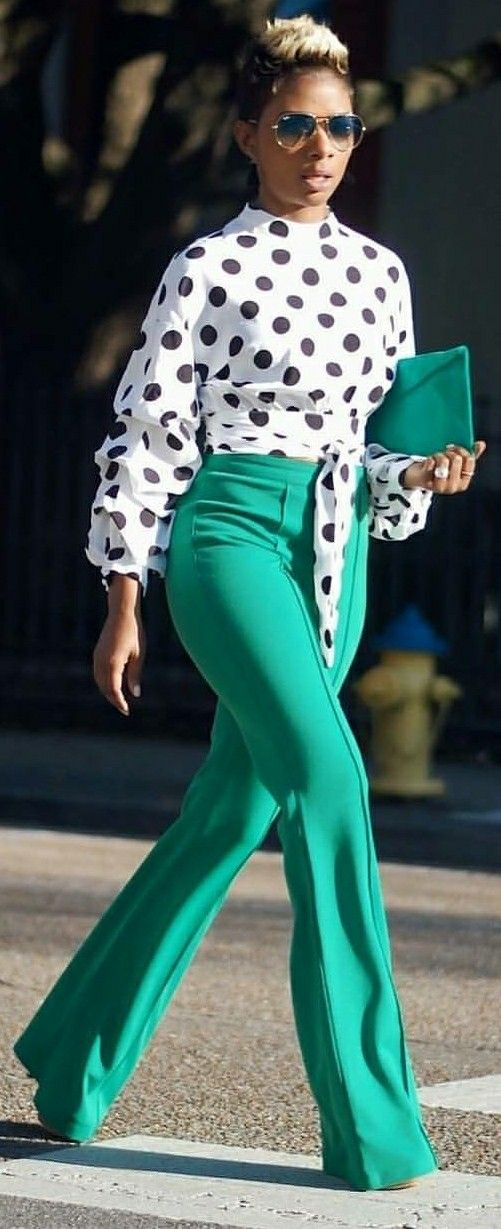 This is a nice work outfit, and I am lovin the green pants.