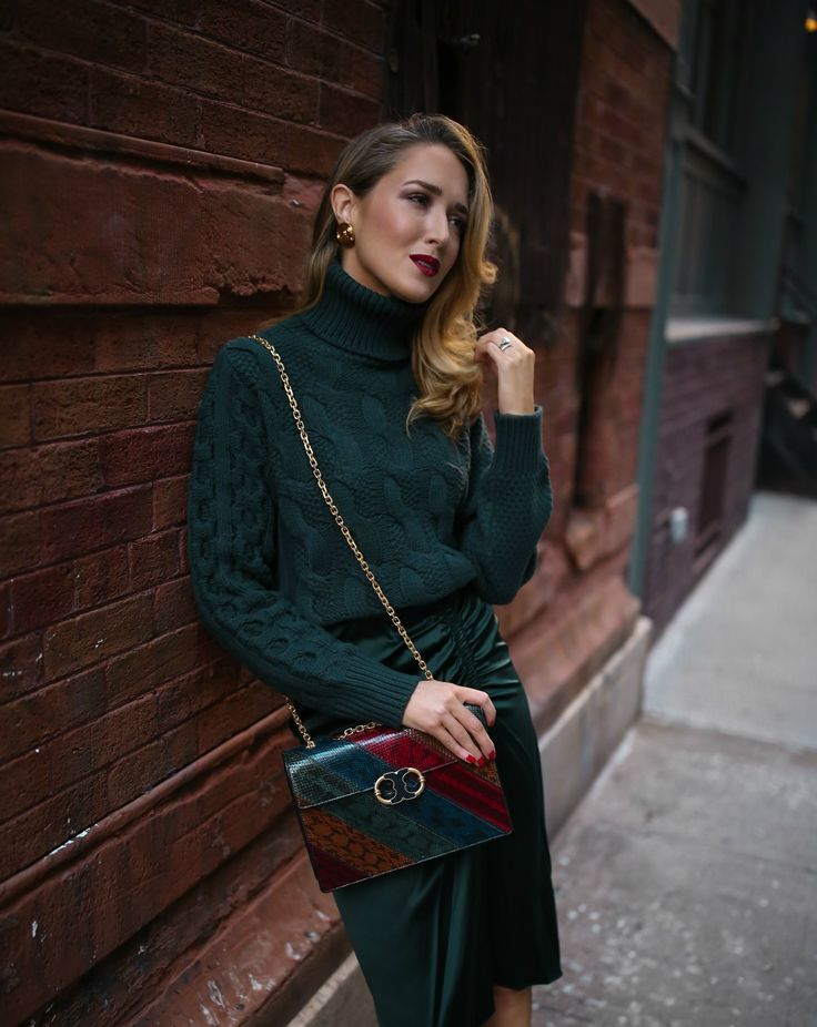 NYC fashion blogger Mary Orton emerald cable knit Margiela sweater Theory ruched satin midi skirt Stuart Weitzman boots multi Jewel Toned Tory Burch handbag