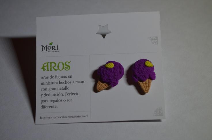 Aros pegados helados morados arcilla polimerica $2500 CLP