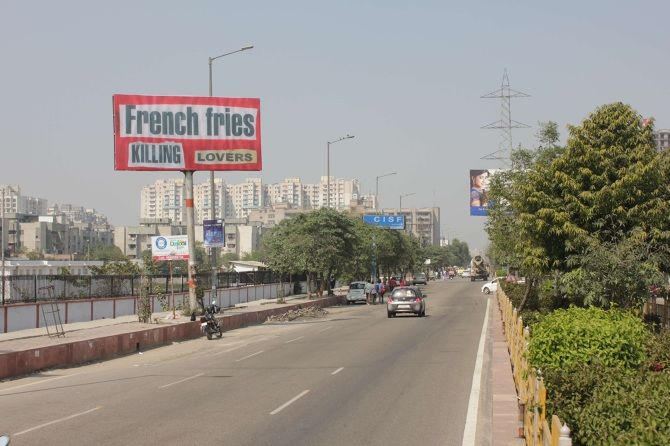 French fries killing lovers 2013 Flex print 6 x 3 m Billboard in Ghaziabad, IN