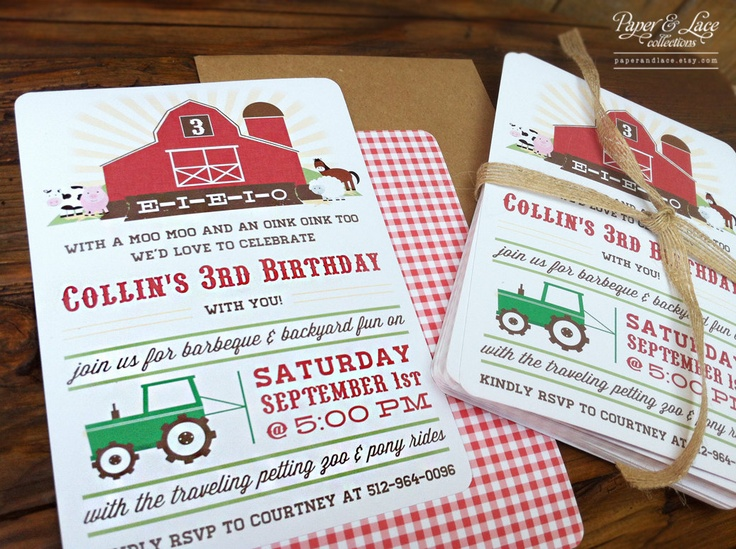 Farm Birthday Party Invitations by paperandlaceaustin on Etsy