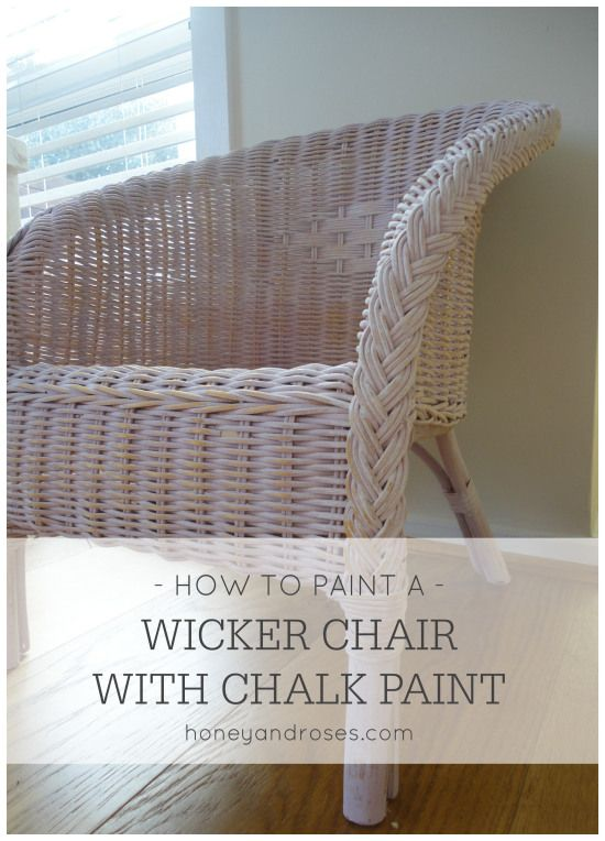 I makeover a sweet wicker chair for my little girl #chalkpaint #wickerchair #furnituremakeover @honeyandroses www.honeyandroses.com