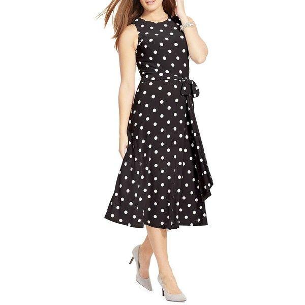 Lauren Ralph Lauren Women's Polka-Dot Jersey Dress ($72) ❤ liked on Polyvore featuring plus size women's fashion, plus size clothing, plus size dresses, black cream, slim fit dress, princess seam dress, no sleeve dress, creme dresses and cream sleeveless dress