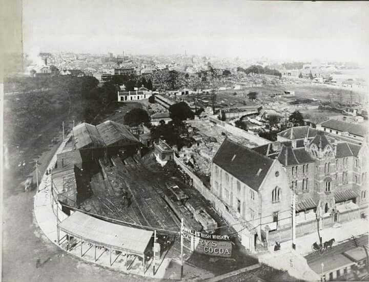 Sydney Tram Terminal at the bottom left.The Devonshire Street Cemetery at the back right of photo.