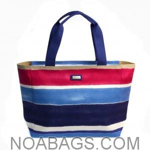 Jim Thompson Luxury Canvas Summer Bag Striped Blue & Pink