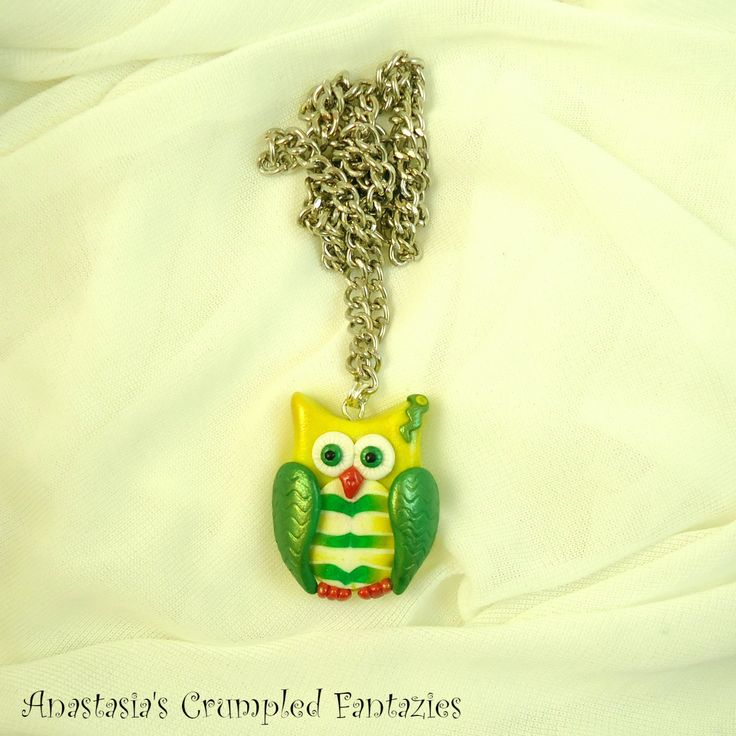 Modern green yellow polymer clay owl necklace,  Fashion pendant, Cute fimo forest creature, Cartoon bird colorful kawaii critter abstract by CrumpledFantazies on Etsy