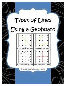 Students match each picture card to the corresponding definition. Then, students can use the laminated reference cards (total of 8) to build different types of lines on their geoboard. Students then use a straight edge to record the different types of lines in their own student booklet and provide a label for each drawing.