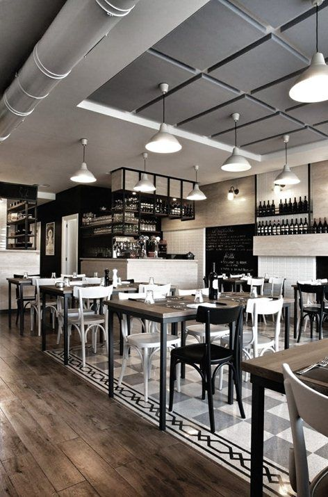 Images about cafe interiors black white on