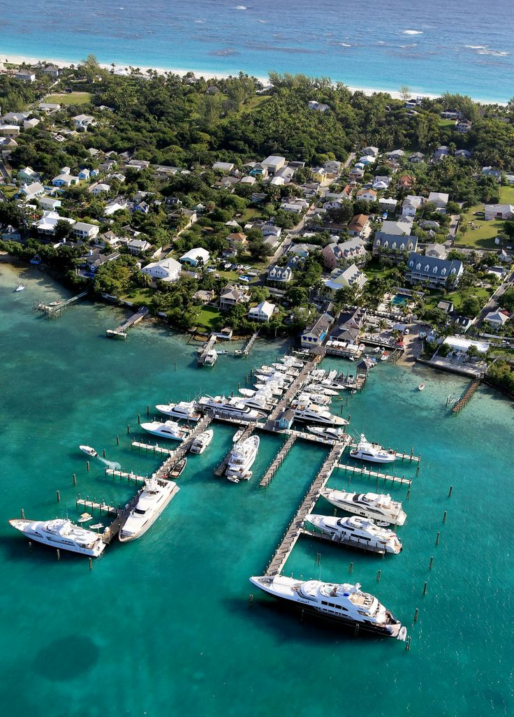 Aerial view of Valentines Resort & Marina on Harbour Island, North Eleuthera. #Caribbean #Bahamas