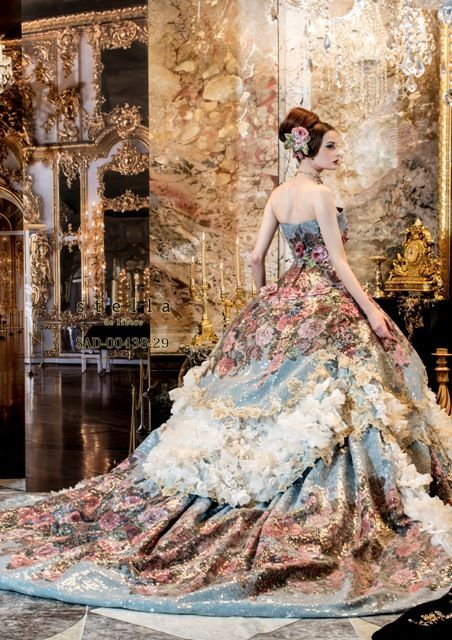 Stella de Libero, gown, couture, wedding, bridal, dress, fantasy, flowers, flower, floral, flora, fairytale, fashion, designer ~ dball~dress ballgown: