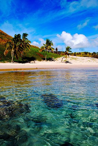 Anakena beach, Easter Island, Chile.