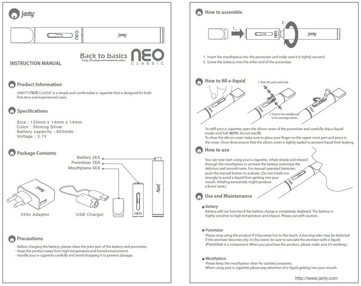 Neo Classic E-Cigarette Manual | How To's | Pinterest