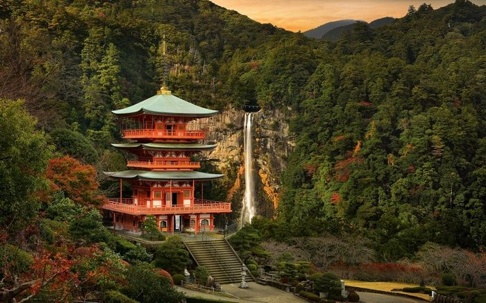 Stairs Water Mountains Waterfall Sunset Trees Building Asian Architecture Forest C Asian Architecture Japanese Garden Landscape Architecture