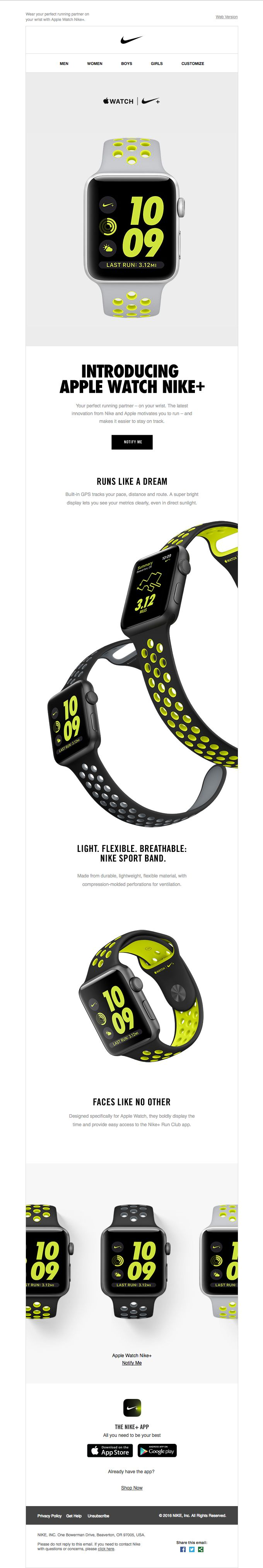 Introducing Apple Watch Nike - Really Good Emails