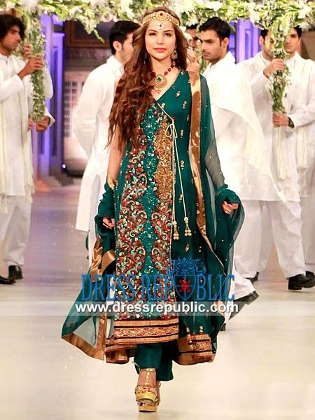 Dragonfly Angrakha Style Party wear Dress Pakistani Bridal Couture Week
