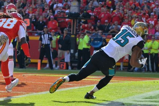 Jaguars vs. Chiefs  -  19-14, Chiefs  -  November 6, 2016  -   Nov 6, 2016; Kansas City, MO, USA; Jacksonville Jaguars wide receiver Allen Robinson (15) catches a pass for a touchdown as Kansas City Chiefs defensive back Terrance Mitchell (38) defends during the first half at Arrowhead Stadium. Mandatory Credit: Denny Medley-USA TODAY Sports