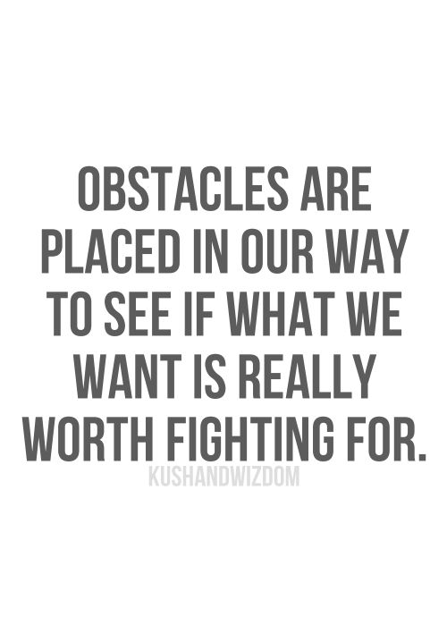 Obstacles are placed in our way to see if what we want is worth fighting for.