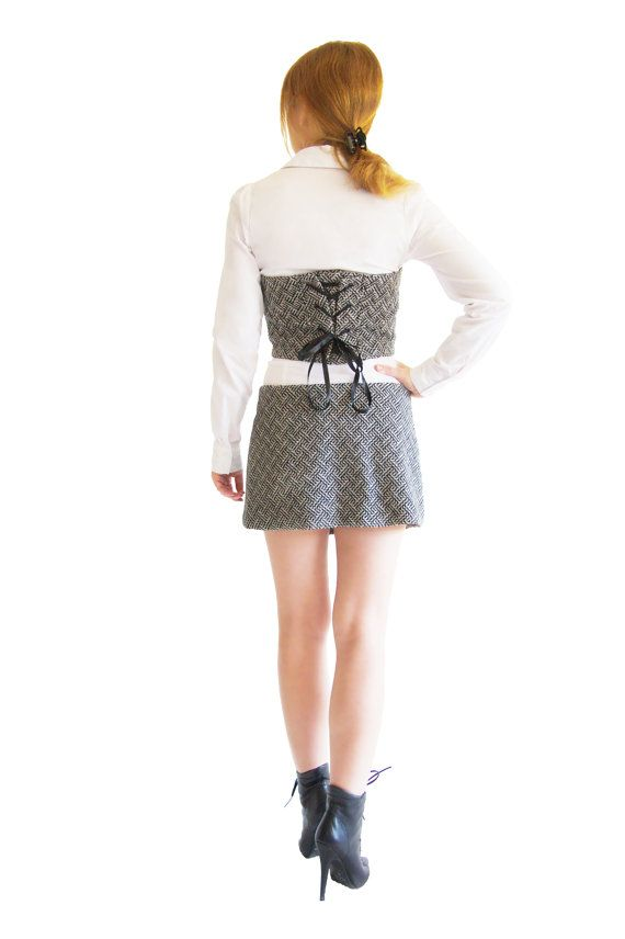 Hey, I found this really awesome Etsy listing at https://www.etsy.com/listing/212118752/black-and-white-atrapless-top-and-skirt
