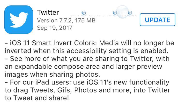 Twitter App iOS Update - 7.7.2 September 19 2017
