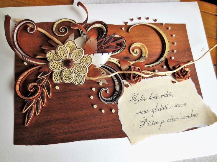 quilling, wood, card