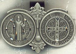 Saint Benedict Medal front and back.