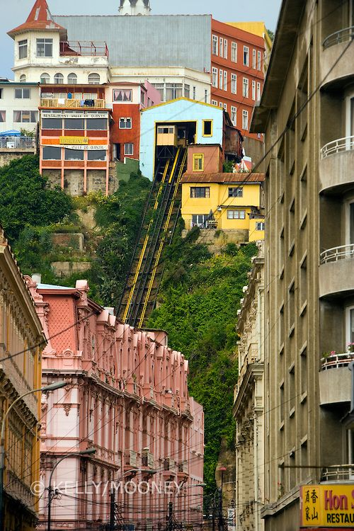 Funicular tracks up hill, through neighborhood in Valparaiso, Chile