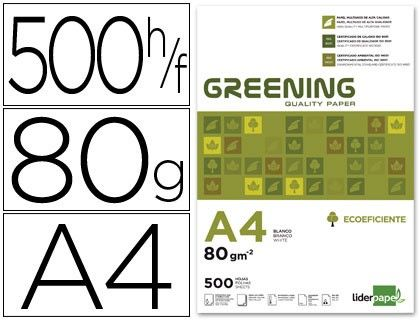 Papel multifuncion A4 Greening Liderpapel 80 g/m2  http://www.20milproductos.com/catalog/product/view/id/543/s/papel-multifuncion-eclipse-liderpapel-80-g-m2-500-hojas/category/2/