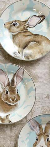 Damask Bunny dishes (Williams Sonoma 2015) I think that they still carry these. These are so pretty with Brown Transferware.