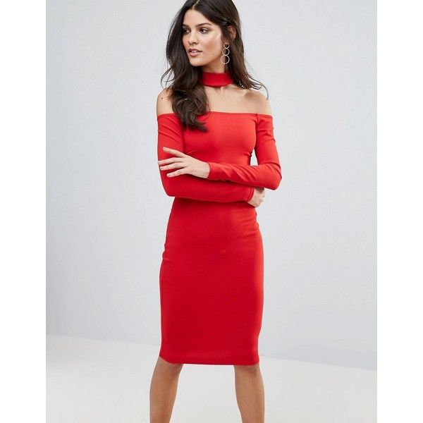 Jessica Wright Long Sleeve Choker Neck Midi Dress (£51) ❤ liked on Polyvore featuring dresses, red, long sleeve dress, off the shoulder midi dress, red dress, off the shoulder bodycon dress and midi dress