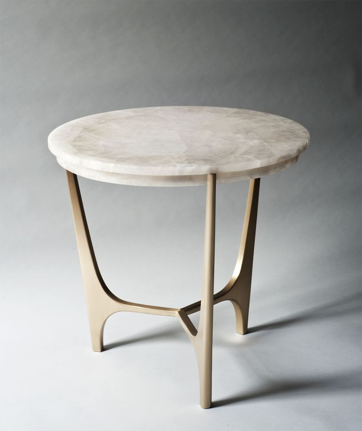 Athena Side Table With A Rock Crystal Top Resting On A Cast Bronzed Base