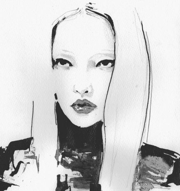 Fashion illustration - model portrait sketch, stylish fashion drawing // Michelle Pam