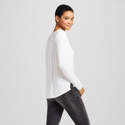 Women's Softest Long Sleeve V-Neck T-shirt - Mossimo Supply Co. White Xxl